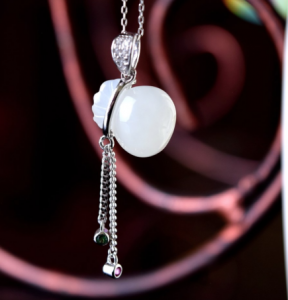 Money Pouch Prosperity White Jade pendant in 925 Sterling Silver with 18K White Gold Rhodium Plating