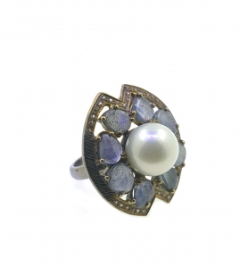 South Sea Pearl with Blue Sapphires Cubic Zirconia 925 Sterling Silver Ring with Black Rhodium plating Vintage Classic