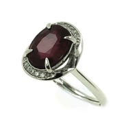 Ruby Oval Facets Cubic Zirconia 925 Silver Ring