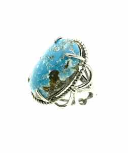 Natural Turquoise Oval 925 Sterling Silver Ring
