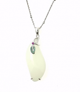 Prosperity Ribbon Leaf White Jade pendant in 925 Sterling Silver