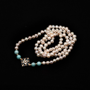 Pearl Necklace with Turquoise and Bling Connector