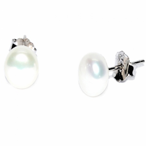 Fresh Water Pearl Flat Button 7-8MM Stud 925 Silver Earring - White