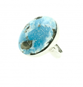 Natural Turquoise Oval Simple 925 Sterling Silver Ring