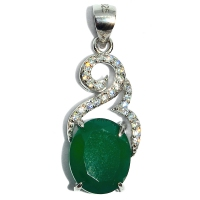 Green Onyx Victorian Cubic Zirconia 925 Silver Pendant