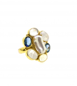 Fresh Water Pearl Biwa Barouqe with Moonstone & London Blue Topaz 925 Silver Ring Yellow Rhodium Plating