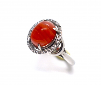 Red Agate Oval Cabochon Zirconia 925 Silver Ring