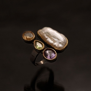Pearl with Peridot Amethyst Citrine 925 Ring