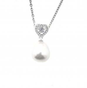 White Pearl Full Love Zirconia Pendant with Chain |MCO Shopping