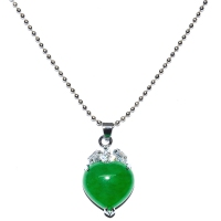 Green Quartz Pendant With Chain - Heart Cubic