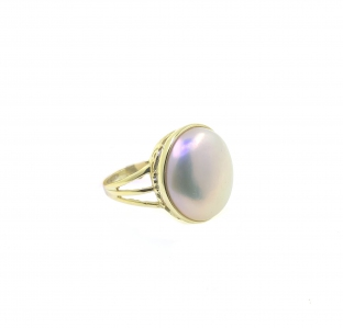 Fresh Water Pearl Coin Three Line 925 Sterling Silver Ring with Yellow Rhodium Plating