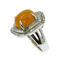 Carnelian 2 Layer Clover Wave 925 Silver Ring