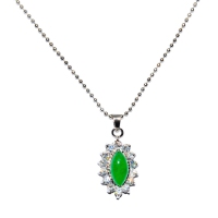 Green Quartz Pendant With Chain - Eclipse Cubic Silver