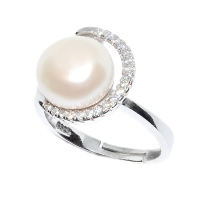 Fresh Water Pearl Curl Zirconia 925 Silver Ring