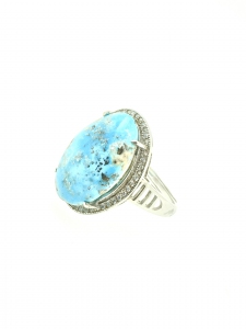 Natural Turquoise Oval Cubic Zirconia 925 Sterling Silver Ring
