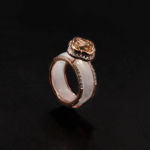 Jade A Grade Citrine Clover with 925 Sterling Silver Ring Jacket with Rose Gold Plating